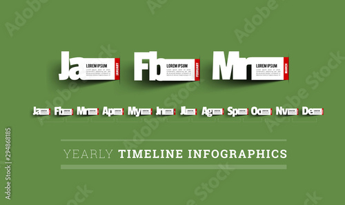 Photo Monthly timeline infographics. Paper cut vector illustration