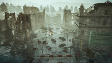 Ruins Of A City. Apocalyptic Landscape Post