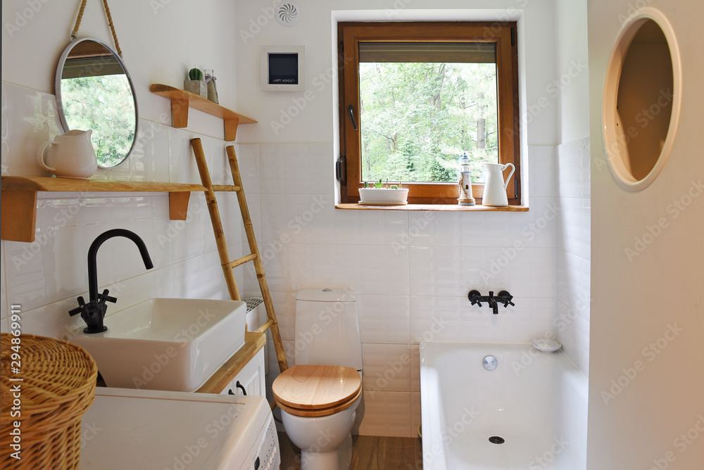 Fototapety, obrazy: interior of small modern bathroom in white color and wooden decor. Scandinavian and vitage style.