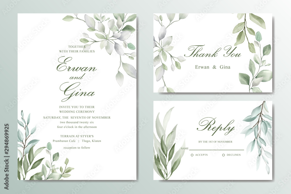 Fototapeta Greenery Elegant Wedding invitation card set with watercolor floral and leaves
