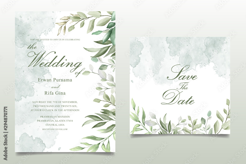 Fototapeta Greenery Watercolor Floral wedding invitation template card design