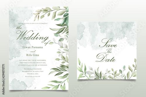 Fotomural Greenery Watercolor Floral wedding invitation template card design