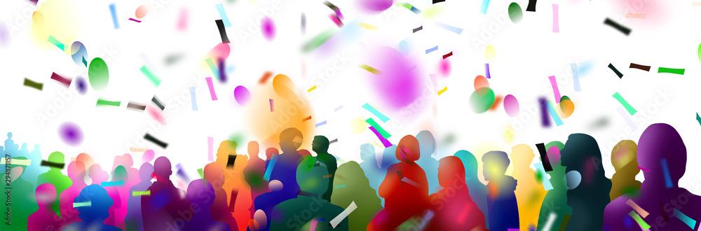 Fototapeta menschenmenge zuschauer silhouetten banner konfetti