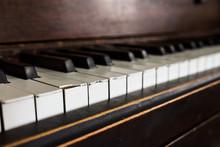 Vintage Brown Wood Upright Piano Keys