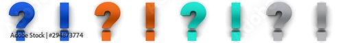 Fototapeta question mark exclamation point q and a sign blue orange silver icon set 3d rend