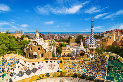 Panoramic view of Barcelona, Spain. Wallpaper Mural