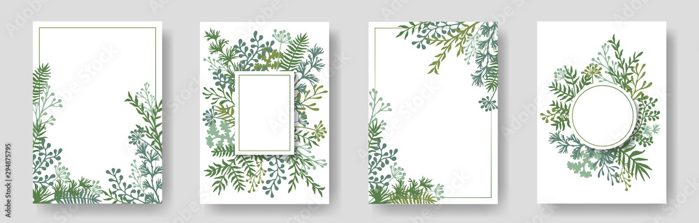 Fototapety, obrazy: Rustic invitation cards with herbal twig branches wreath and corners border frames.