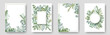 Rustic invitation cards with herbal twig branches wreath and corners border frames.