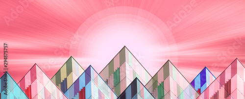 Foto auf Leinwand Rosa Lovey illustration of a surreal modern urban landscape with an abstract sunset with copy space for your text