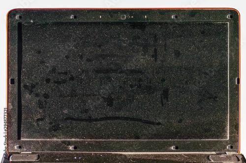 Cuadros en Lienzo Dirty dusty laptop screen in the office