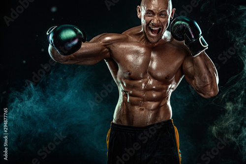 Sportsman, man boxer fighting in gloves on black background Canvas Print