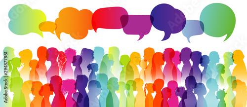 Obraz na plátně  Dialogue large group of diverse people