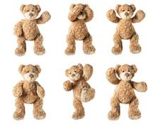 Set Of Toy Bear Isolated On White Background
