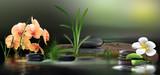 Wandbild mit Orchideen, Gräser und Steinen im Wasser