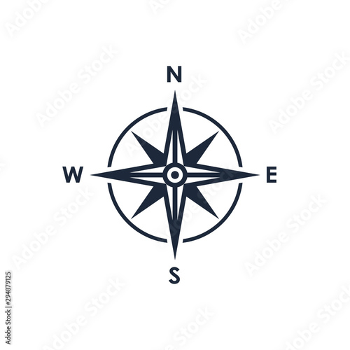 Fototapeta Compass icon. Wind rose sign. Compass symbol isolated on white background. Vector illustration obraz
