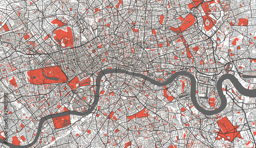 Detailed Map of London, UK Canvas Print