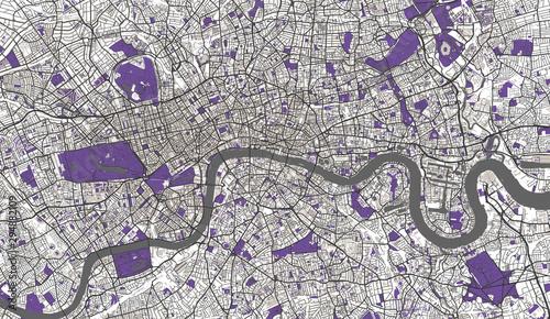 Photo Detailed Map of London, UK