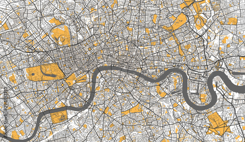Valokuvatapetti Detailed Map of London, UK