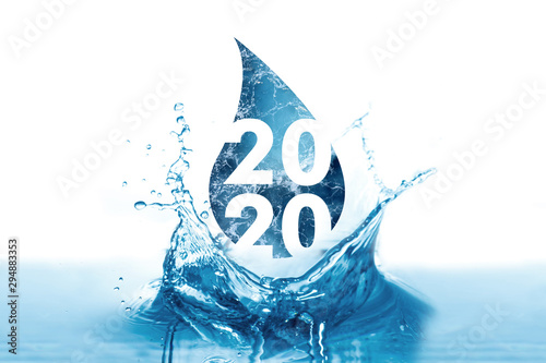 Printed kitchen splashbacks Positive Typography New Year 2020 greetings in water drop and splash