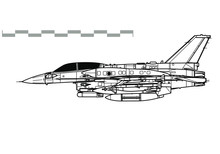 General Dynamics F-16I Sufa. Outline Vector Drawing