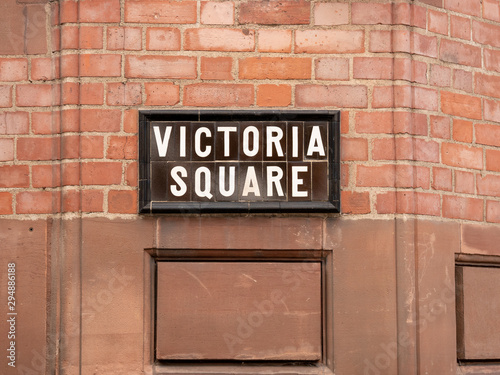 Foto Victoria Square street sign, Belfast, Northern Ireland, UK