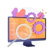 Bug fixing and software testing. Computer virus searching tool. Devops, web optimization, antivirus app. Magnifier, cogwheel and monitor design element. Vector isolated concept metaphor illustration