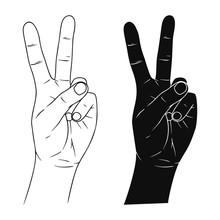 Hand Sign Victory Or Peace And...