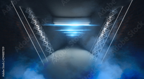 Photo  Abstract blue background with neon rays