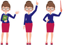 Set Of Cartoon Woman Teacher I...