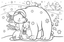 Polar Bear With Cubs, Cartoon Character, Coloring Book For Children, Design For New Year And Christmas Holidays, Raster Copy