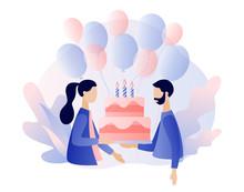 Happy Birthday Concept. Modern Flat Cartoon Style. Vector Illustration