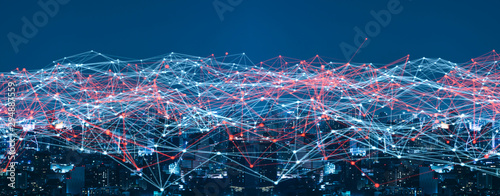 Smart city and Wireless communication network concept.abstract line connection on night city background.IoT(Internet of Things). ICT(Information Communication. - 294887559