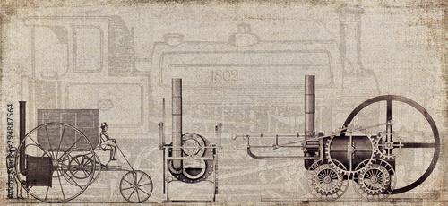 Fotografie, Obraz Steampunk Erfindung Patent Dampflokomotive Dampfmaschine 1802 Trevithicks