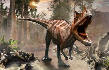 Ceratosaurus dinosaur scene 3D illustration