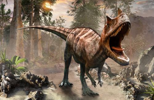 Photo Ceratosaurus dinosaur scene 3D illustration