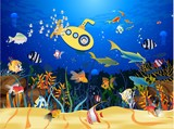 Fototapeta Do akwarium -  composition showing life in the ocean reef on the ocean and travel in the bathyscaphe
