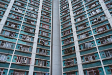 Look Up Shot Of An Old High Rise Public Housing Residential Building In Tai Po, Hong Kong.