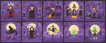 Ten Halloween Scenes With Witches, Vampires, Zombies, Werewolves And Grim Reaper. Halloween Flat Illustration Collection