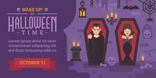 Halloween Flyer With Vampires Sleeping In Coffins