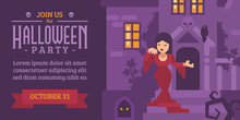 Halloween Flyer With A Woman I...