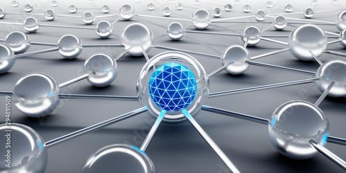 Pinturas sobre lienzo  Sphere network structure - abstract design connection design - 3D illustration