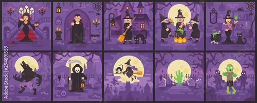 Fotografie, Obraz Ten Halloween scenes with witches, vampires, zombies, werewolves and Grim Reaper