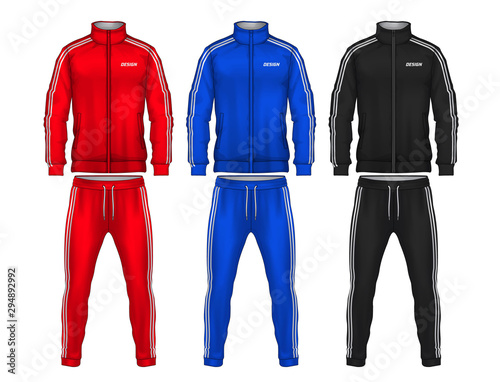 Fototapeta sport track suit design template,jacket and trousers vector illustration
