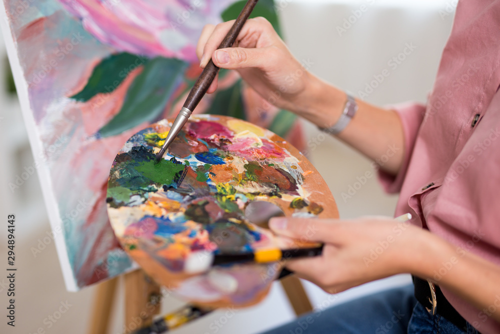 Fototapety, obrazy: art, creativity and inspiration concept - close up of hands with paintbrush painting at home or studio