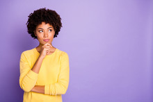 Portrait Of Her She Nice Attractive Charming Lovely Creative Wavy-haired Girl Creating Strategy Brainstorming Isolated Over Violet Purple Lilac Pastel Color Background
