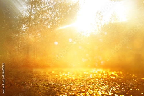 Fotobehang Oranje concept background photo of light burst among trees and glitter golden bokeh sparkles