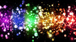 LGBT color bokeh festive background with shiny particles, rainbow colorful abstract graphic for bright design. Transgender gay lesbian sparkling rainbow background
