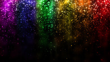 LGBT Color Festive Background With Shiny Falling Particles, Rainbow Colorful Abstract Graphic For Bright Design. Gay Lesbian Transgender Sparkling Rainbow Bokeh Background