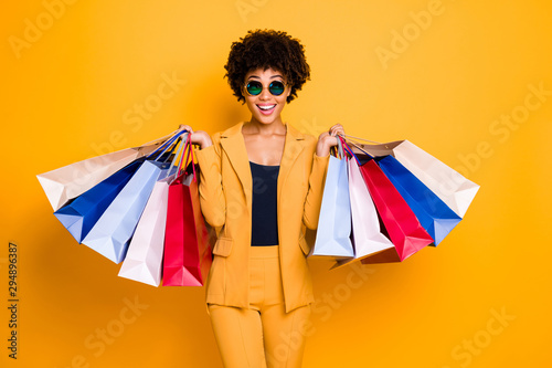 Wow omg 50 off. Portrait of surprised shocked brunette hair dark skin girl travel trip see sales black friday go shopping feel crazy wear style outfit trousers isolated bright color background