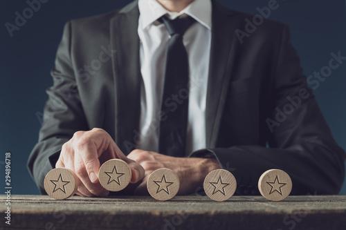Deurstickers Wanddecoratie met eigen foto Business rating and quality concept